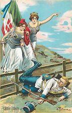 WW1 Patriotic Italia Signed Carlo Tallone anti german propaganda sword ladies