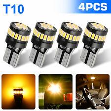 4X T10 168 194 Amber Yellow LED No Error License Side Marker Parking Light Bulb