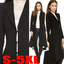 Vintage Women Lady Steampunk Swallow Tail Goth Long Trench Coat Jacket Blazer
