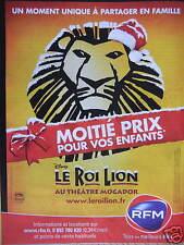 PUBLICITÉ RADIO RFM LE MEILLEUR DE LA MUSIQUE ROI LION MOITIÈ PRIX POUR ENFANTS
