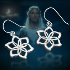 Women 925 Sterling Silver LORD OF THE RINGS NENYA Elven Queen Flower Earrings