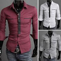 PJ New Designer Men's Casual Shirt Slim Fit Business Formal Dress Shirts Stylish