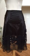 Lux Urban Outfitters Black Chiffon/Silky/Shiny Lace Mid-Calf Flared Full Skirt 5