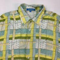 Lanzino Button Up Shirt Men's 2XL XXL Short Sleeve Plaid Polka Dot 100% Rayon