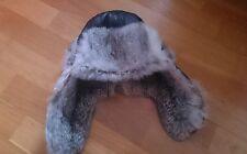 Mütze Leder Kaninchen-Pelz Fliegermütze Gr.M sehr guter Zustand
