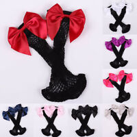 Women Ruffle Fishnet Ankle High Mesh Lace Fish Net Short Socks with Bow Tie