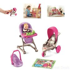 Baby Doll Set Girls Pink Purple High Chair Stroller Car Seat Toy Kids Play New