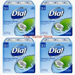 12 Dial Coconut Water Gentle Cleansing Skin Care Bars, Glycerin Soap, 4 Packs