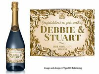 PERSONALISED gold Champagne label Birthday Anniversary Wedding Engagement gift