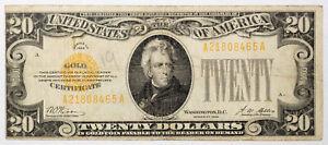 1928 US $20 Twenty Dollars Gold Certificate Creased | MIS-ALIGNED ERROR