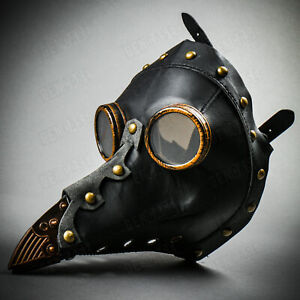 Plague Doctor Steampunk Long BirdNose Halloween Adult Party Costume Leather Mask