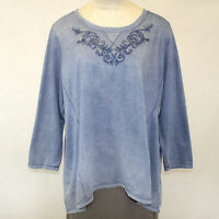 NEW Avenue Plus Mineral Wash Denim Blue Sweatshirt Top Embroidered 18/20 2X