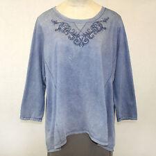 NEW Avenue Plus Mineral Wash Denim Blue Sweatshirt  Embroidered Beaded 22/24 3X