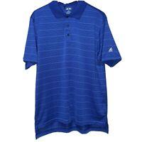 Men's Adidas Climacool Polo Golf Shirt Short Sleeve Blue White Stripe Size Large