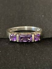 Ladies Silver And Gold Plated Dress Ring. Purple. Cubic Zirconia Stone. Size T
