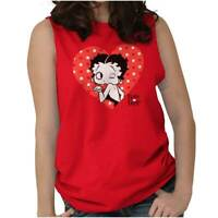 Betty Boop Vintage Valentines Day Kisses Gift Womens Muscle Tank Top T-Shirt Tee