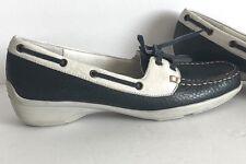 Trotters Women's Zaza Boat Shoes Navy White Leather Loafers Size 6.5 Narrow