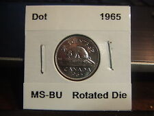 CANADA FIVE CENTS 1965 Large DOT and Nice ROTATED DIE, MS-BU !!!!!