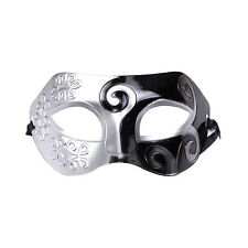 Mens Roman Warrior Two Tone Masquerade Ball Prom Halloween Mask. Black / Silver
