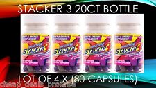 Stacker 3 20CT Weight Loss Energy Dietary (Lot 4 X SHIELD Bottles) = 80 Capsules