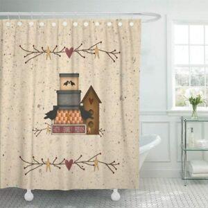 Nice! Beige Birdhouse Farmhouse Family Home Love Rustic Fabric Shower Curtain