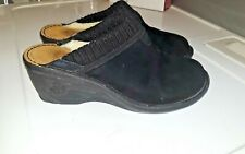 """UGGS"" BLACK SUEDE FUR LINED CLOGS(8)"