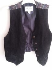 Black Suede Vest Women's M Medium Plaid Back Arizona Lined Sleeveless