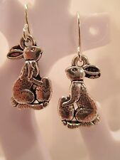 """earring bunny egg Easter silver color hook style dangle about 1/2"""" long"""