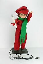 Vintage Christmas Carol Boy Display Arts Animated Illuminated Moving Figure