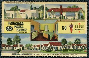 Koronado Hotel Kourts on Route 66 Joplin Missouri mo linen postcard