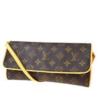 Auth LOUIS VUITTON Pochette Twin GM Shoulder Bag Monogram Leather M51852 35MD258