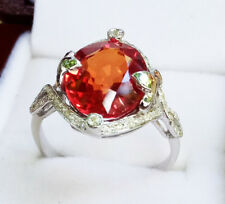 Luxurious 100% .925 Silver & W/G Plated  Padparadscha Sapphire Ring sz.6.5