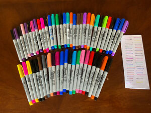 Lot Of 54 Sharpie Ultra Fine Point Permanent Pens Mixed Colors - Tested And Work