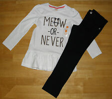 NWT GYMBOREE RIGHT MEOW WHITE SWING TOP BLACK PANTS GIRLS 5 WINTER FALL