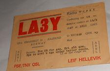 Vintage 1947 QSL Amateur Radio Card LA3Y Aalesund Norway