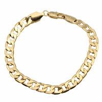 18K Yellow Gold Filled Women Men Unisex Bracelet Curb Chain Link Bangle Jewelry-