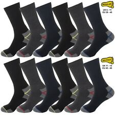 New Goodyear Mens Black Contrast Padded Heel Heavy Duty Workwear Socks 5 Pack