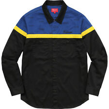 Supreme Color Blocked Work Shirt Button up, Black Blue Yellow, Large, FW17
