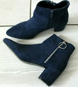 Women Dark Blue Ankle Boots Mid Block Heel Western Casual Shoes Chelsea Boots