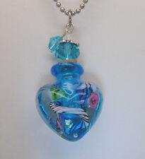 HEART CREMATION JEWELRY BLUE GLASS CREMATION URN NECKLACE MEMORIAL KEEPSAKE URNS
