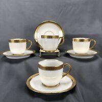 (4) Vignaud Limoges Gold Leaf & Berry Encrusted Trim Cup & Saucer Sets (VIG115)