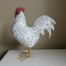 ROOSTER FIGURINE STATUE RESIN white DEMASQUE KITCHEN COUNTRY Farm New 11 IN.