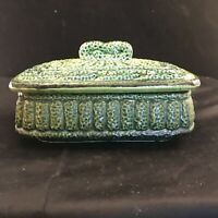 Hand Painted Green Ceramic Dresser Box Contains 2 Matching Trinket Dishes Japan