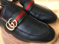GUCCI Donnie Web GG Loafer Men's Black Leather Shoes Size 8 UK (9 US)