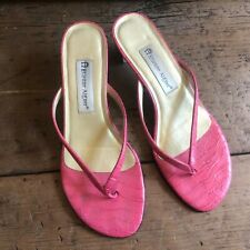 Etienne Aigner Womens 8M Island I Pink embossed Leather Thong Sandal Heels Shoes
