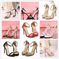 Women Ankle Strap Party Shoes Stiletto Peep Toe Slim Sandals Pumps Size Clubwear