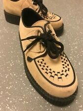 Women's Underground England Creepers Peach Beige Suede Shoes UK 4 EU 37 US 6