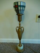 Antique Brass Table Lamp Amphora w Handles & Onyx Base w Tiffany Style Shade 24""