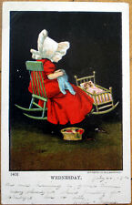 1906 Days of the Week Postcard, Little Girl's Chores:  Wednesday - Sewing, Doll