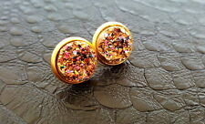 Pink Champagne Druzy Crystal Gold Plate Stud Earrings